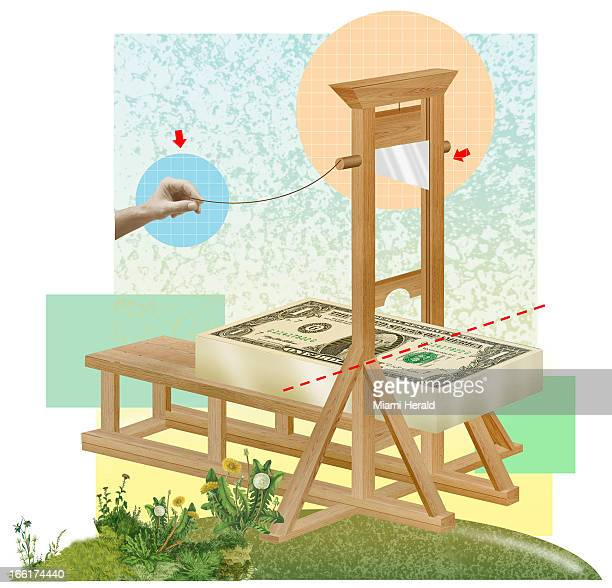 Phillip Brooker color illustration of guillotine about to chop a US dollar can be used with stories about paycuts etc