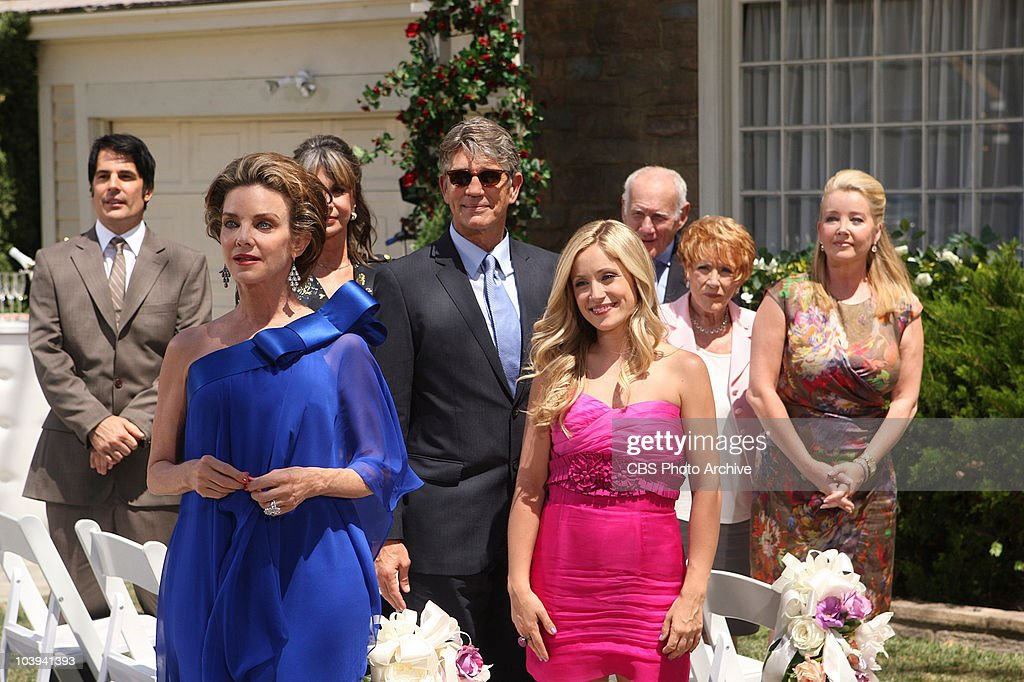 Phillip Chancellor (Thom Bierdz), from left, Gloria Bardwell (Judith Chapman), Jill Fenmore (Jess Walton), Vance Abrams (Eric Roberts), Abby Carlton (Marcy Rylan), Patrick Murphy (Michael Fairman), Katherine Chancellor (Jeanne Cooper), and Nikki Reed Newman (Melody Thomas Scott) attend the wedding of Victoria Newman and Billy Abbott on THE YOUNG AND THE RESTLESS, broadcast weekdays (12:30-1:30 PM; 11:00 AM-12:00 Noon, ET/PT) on the CBS Television Network.