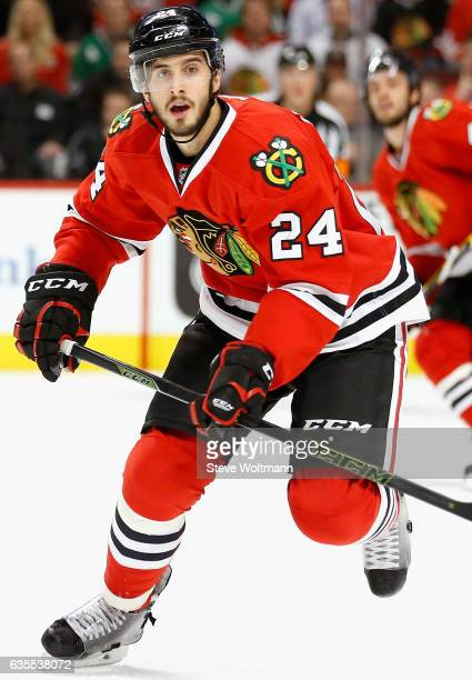 Phillip Danault of the Chicago Blackhawks plays in the game against the Nashville Predators at the United Center on February 25 2016 in Chicago...