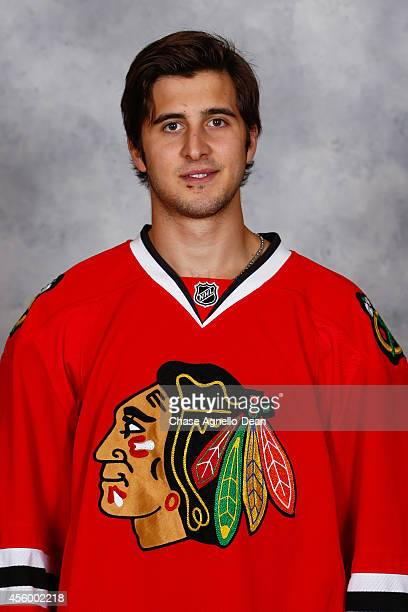 Phillip Danault of the Chicago Blackhawks poses for his official headshot for the 20142015 season on September 18 2014 at the United Center in...