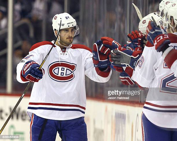Phillip Danault of the Montreal Canadiens celebrates during NHL action against the Winnipeg Jets on January 11 2017 at the MTS Centre in Winnipeg...