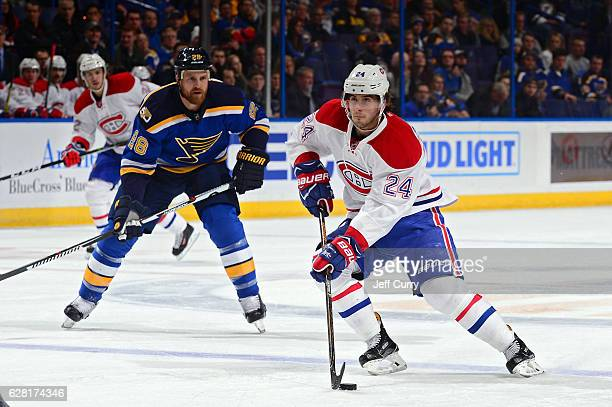 Phillip Danault of the Montreal Canadiens handles the puck against the St Louis Blues on December 6 2016 at Scottrade Center in St Louis Missouri