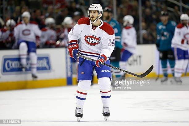 Phillip Danault of the Montreal Canadiens in action against the San Jose Sharks at SAP Center on February 29 2016 in San Jose California