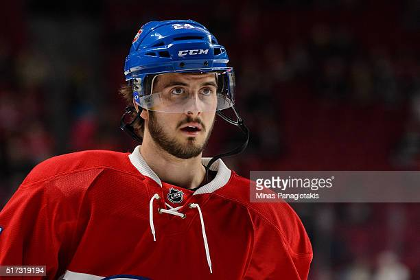 Phillip Danault of the Montreal Canadiens looks on during the warmup prior to the NHL game against the Calgary Flames at the Bell Centre on March 20...