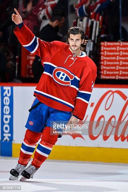 Phillip Danault of the Montreal Canadiens salutes the fans during the NHL game against the Detroit Red Wings at the Bell Centre on November 12 2016...