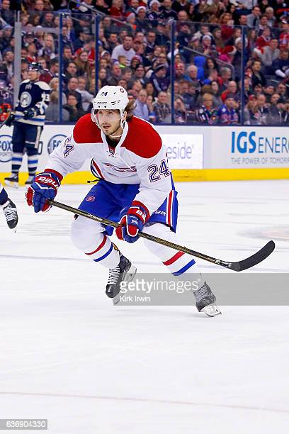 Phillip Danault of the Montreal Canadiens skates after the puck during the game against the Columbus Blue Jackets on December 23 2016 at Nationwide...