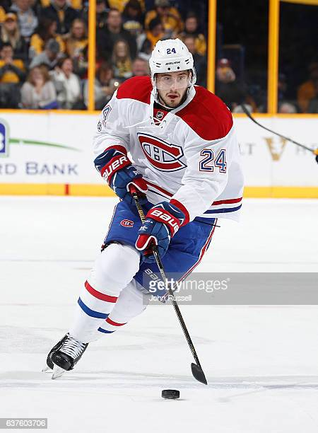 Phillip Danault of the Montreal Canadiens skates against the Nashville Predators during an NHL game at Bridgestone Arena on January 3 2017 in...