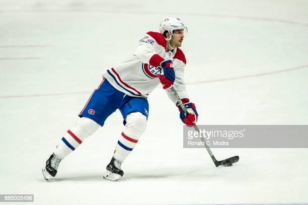 Phillip Danault of the Montreal Canadiens skates against the Nashville Predators during an NHL game at Bridgestone Arena on November 22 2017 in...