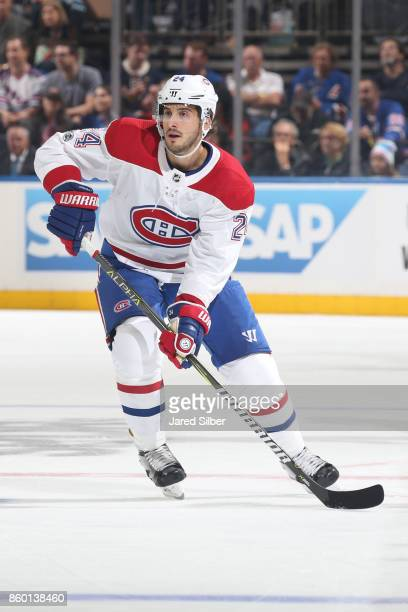 Phillip Danault of the Montreal Canadiens skates against the New York Rangers at Madison Square Garden on October 8 2017 in New York City The New...
