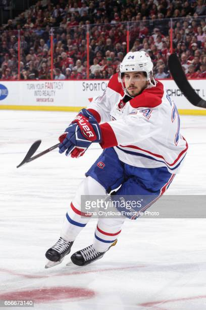 Phillip Danault of the Montreal Canadiens skates against the Ottawa Senators at Canadian Tire Centre on March 18 2017 in Ottawa Ontario Canada