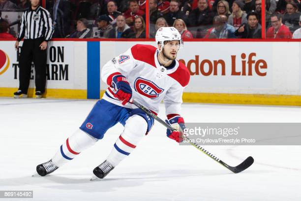 Phillip Danault of the Montreal Canadiens skates against the Ottawa Senators at Canadian Tire Centre on October 30 2017 in Ottawa Ontario Canada