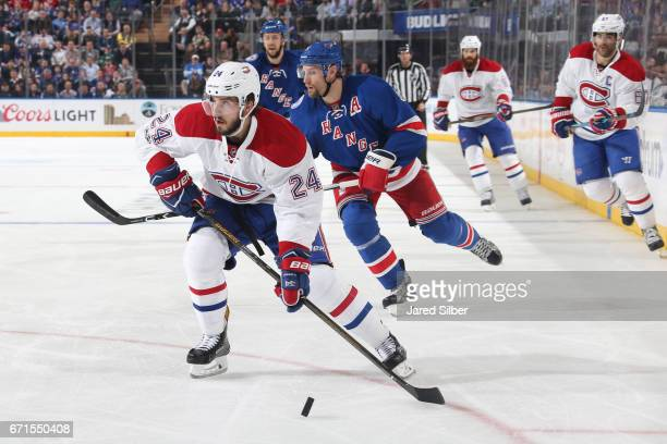 Phillip Danault of the Montreal Canadiens skates with the puck against the New York Rangers in Game Four of the Eastern Conference First Round during...