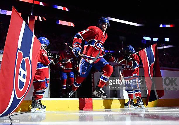 Phillip Danault of the Montreal Canadiens takes to the ice prior the NHL game against the New York Rangers at the Bell Centre on January 14 2017 in...