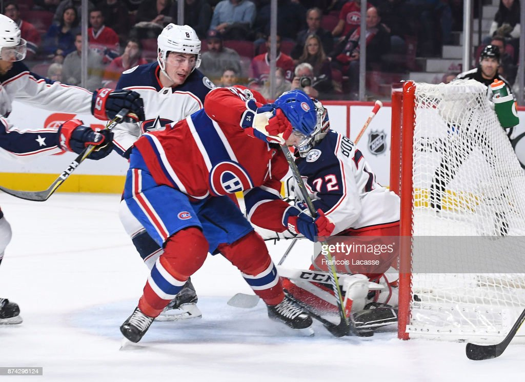 Phillip Danault #24 of the Montreal Canadiens tries to score against the Columbus Blue Jackets in the NHL game at the Bell Centre on November 14, 2017 in Montreal, Quebec, Canada.