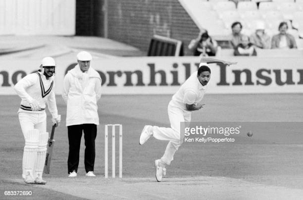Phillip DeFreitas bowling during his Test debut for England in the 1st Test match against Pakistan at Old Trafford Manchester 6th June 1987 The...