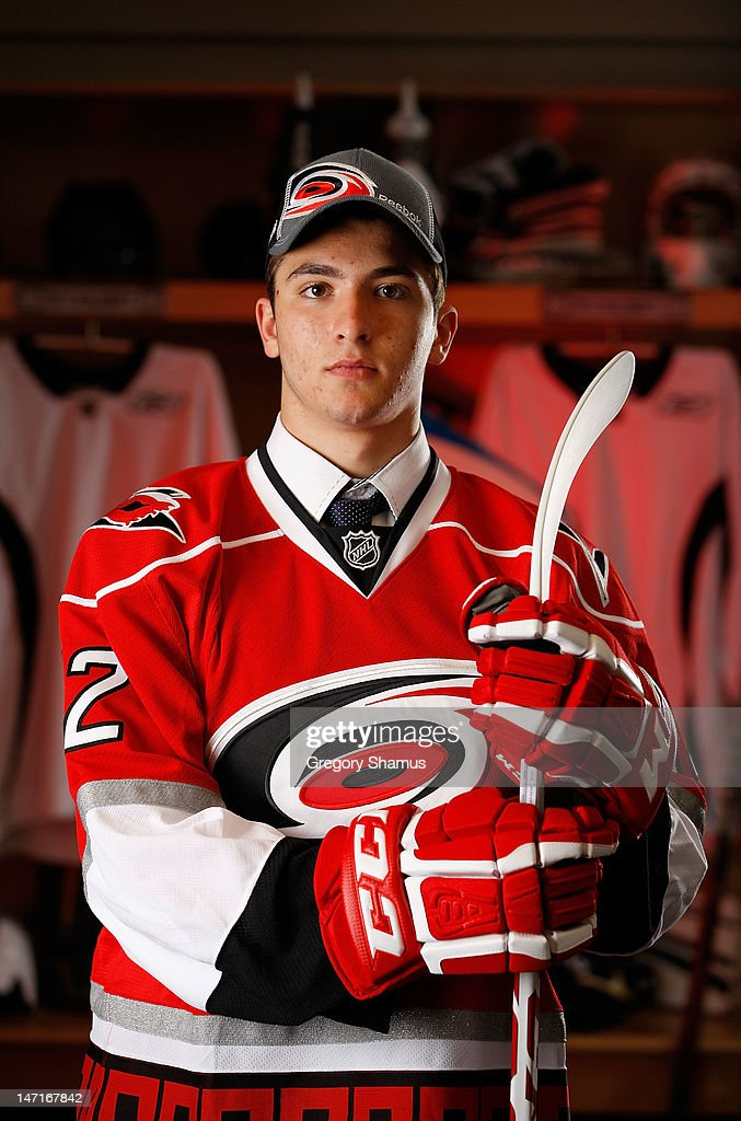 Phillip Di Giuseppe, 38th overall pick by the Carolina Hurricanes, poses for a portrait during the 2012 NHL Entry Draft at Consol Energy Center on June 23, 2012 in Pittsburgh, Pennsylvania.