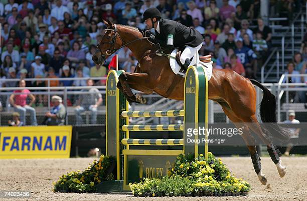 Phillip Dutton of West Grove Pennsylvania atop Connaught competes in the Stadium Jumping Phase as he finished second at the 2007 Rolex Kentucky...