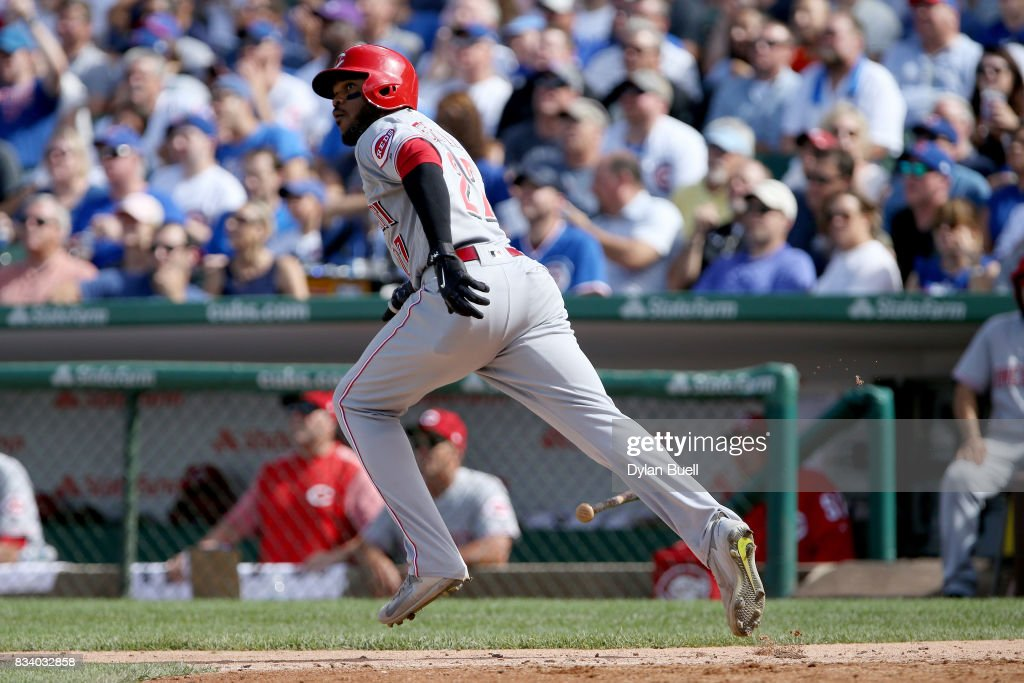 Phillip Ervin #27 of the Cincinnati Reds hits a home run in the seventh inning against the Chicago Cubs at Wrigley Field on August 17, 2017 in Chicago, Illinois.