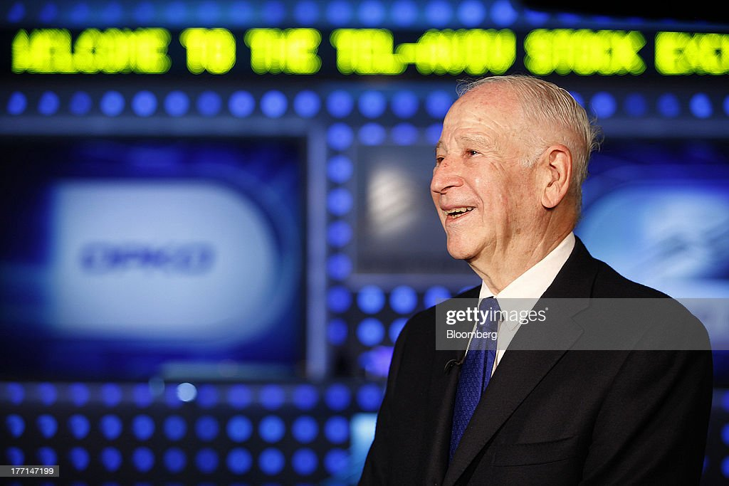 Phillip Frost, billionaire and chairman of Teva Pharmaceutical Industries Ltd., reacts during a Bloomberg Television interview at the Tel Aviv Stock Exchange in Tel Aviv, Israel, on Wednesday, Aug. 21, 2013. Frost was at the Tel Aviv Stock Exchange to mark the listing of Opko Health Inc. of which he is the largest shareholder. Photographer: Ariel Jerozolimski/Bloomberg via Getty Images