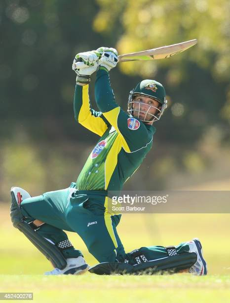 Phillip Hughes of Australia A bats during the Quadrangular One Day Series match between Australia A and India A on July 20 2014 in Darwin Australia