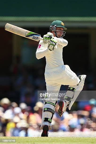 Phillip Hughes of Australia bats during day two of the Third Test match between Australia and Sri Lanka at Sydney Cricket Ground on January 4 2013 in...