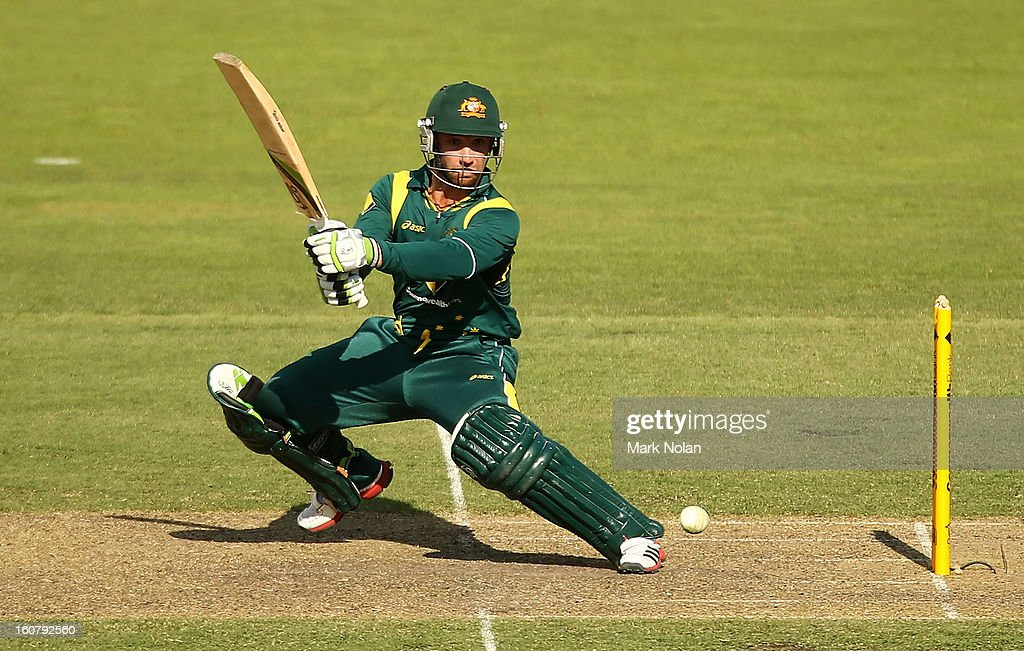 Phillip Hughes of Australia bats during the Commonwealth Bank One Day International Series between Australia and the West Indies at Manuka Oval on February 6, 2013 in Canberra, Australia.