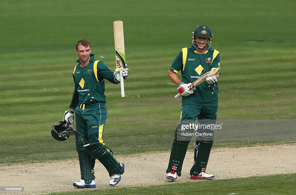 <a gi-track='captionPersonalityLinkClicked' href=/galleries/search?phrase=Phillip+Hughes+-+Cricketer&family=editorial&specificpeople=757530 ng-click='$event.stopPropagation()'>Phillip Hughes</a> of Australia celebrates after scoring his century during game five of the Commonwealth Bank One Day International Series between Australia and Sri Lanka at Blundstone Arena on January 23, 2013 in Hobart, Australia.