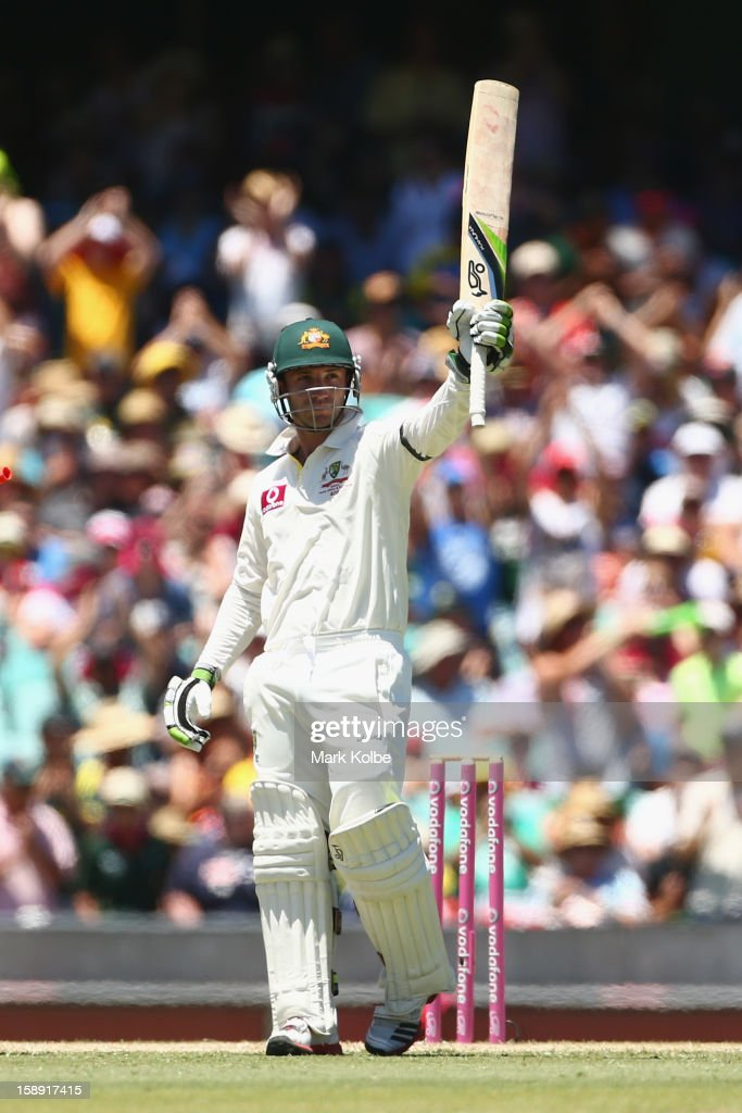 Phillip Hughes of Australia celebrates scoring his half century during day two of the Third Test match between Australia and Sri Lanka at Sydney Cricket Ground on January 4, 2013 in Sydney, Australia.