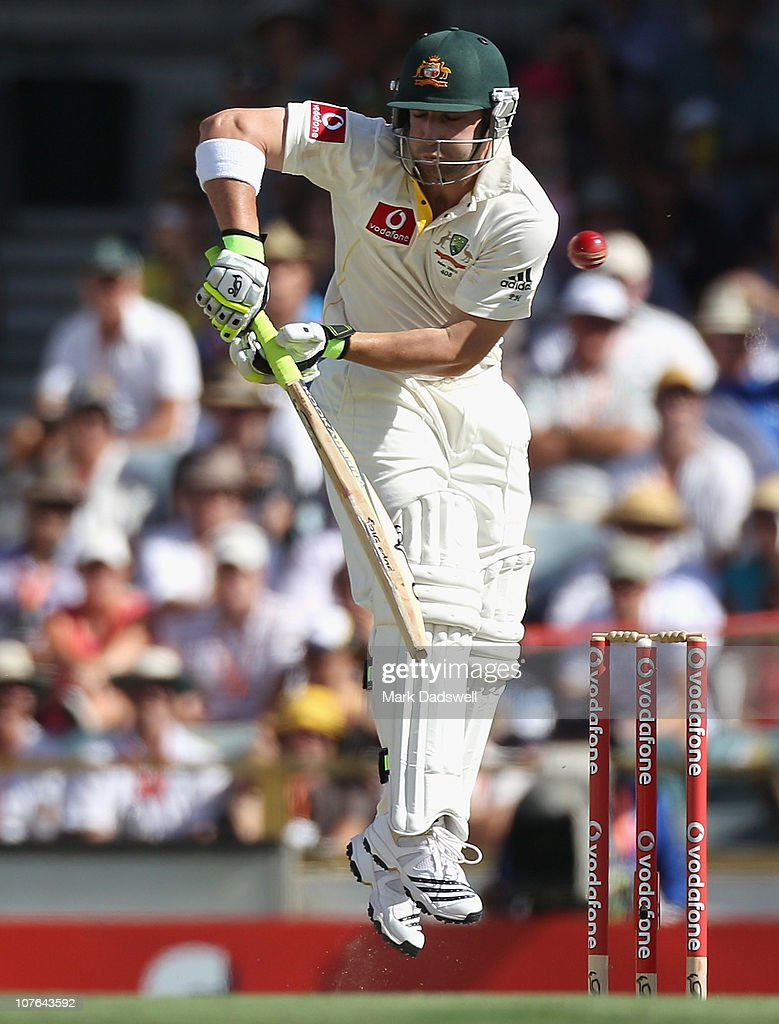 Phillip Hughes of Australia evades a short pitched delivery during day two of the Third Ashes Test match between Australia and England at the WACA on December 17, 2010 in Perth, Australia.