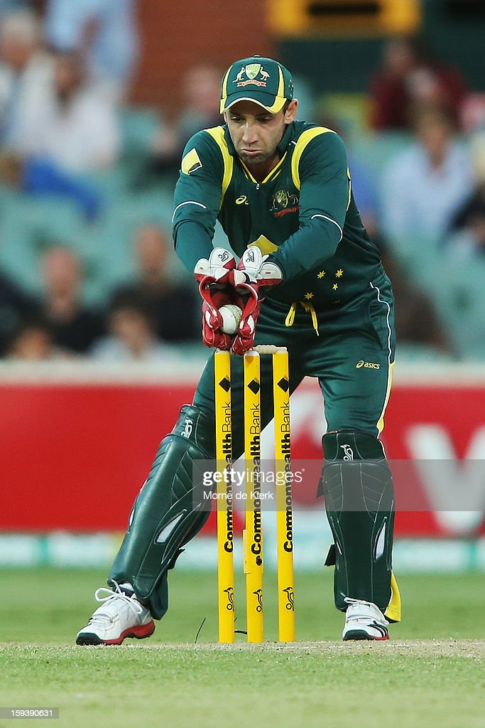 Phillip Hughes of Australia keeps wicket during game two of the Commonwealth Bank One Day International series between Australia and Sri Lanka at Adelaide Oval on January 13, 2013 in Adelaide, Australia.