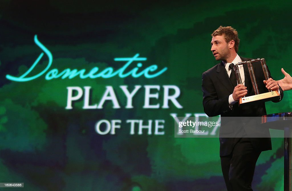 Phillip Hughes of Australia speaks after being named the Domestic Player of the Year during the 2013 Allan Border Medal awards ceremony at Crown Palladium on February 4, 2013 in Melbourne, Australia.
