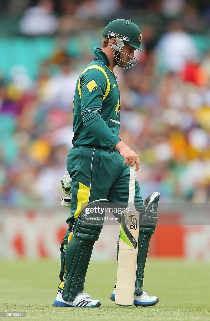 Phillip Hughes of Australia walks back to the dressing room after being dismissed by Nuwan Kulasekara of Sri Lanka during game four of the Commonwealth Bank one day international series between Australia and Sri Lanka at Sydney Cricket Ground on January 20, 2013 in Sydney, Australia.