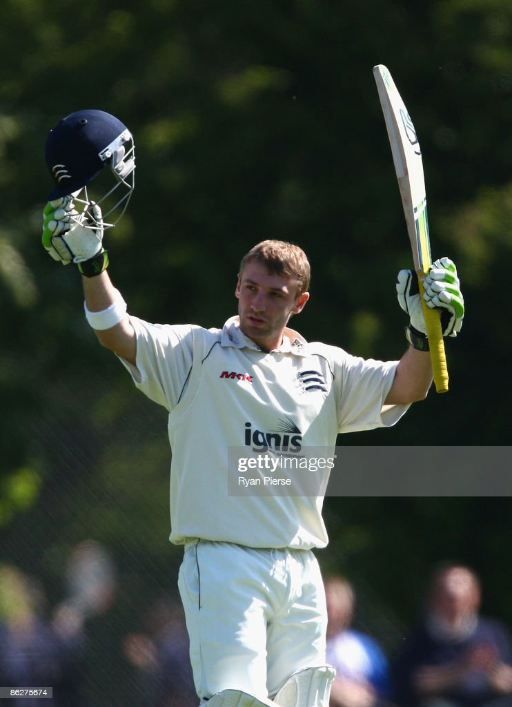 <a gi-track='captionPersonalityLinkClicked' href=/galleries/search?phrase=Phillip+Hughes+-+Cricketer&family=editorial&specificpeople=757530 ng-click='$event.stopPropagation()'>Phillip Hughes</a> of Middlesex and Australia celebrates after reaching his century during day two of the LV County Championship Division Two match bewteen Middlesex and Leicestershire at Southgate on April 29, 2009 in London, England.