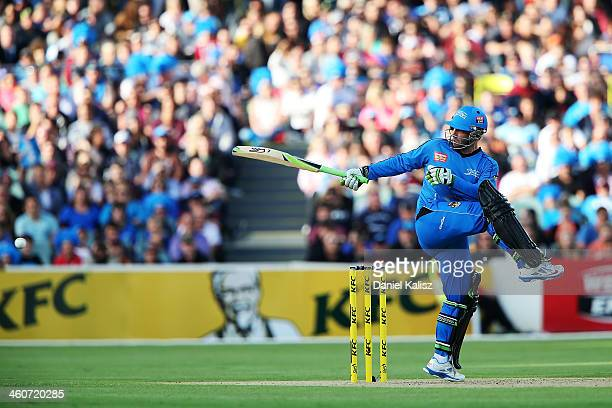 Phillip Hughes of the Strikers bats during the Big Bash League match between the Adelaide Strikers and the Sydney Sixers at Adelaide Oval on January...