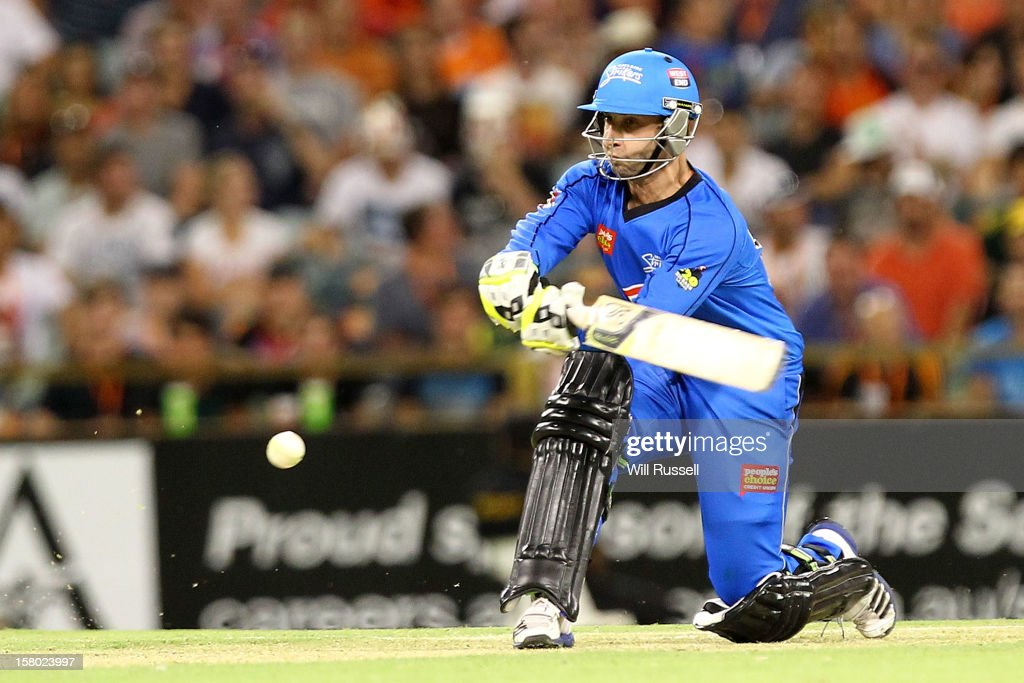 <a gi-track='captionPersonalityLinkClicked' href=/galleries/search?phrase=Phillip+Hughes+-+Cricketer&family=editorial&specificpeople=757530 ng-click='$event.stopPropagation()'>Phillip Hughes</a> of the Strikers hits the ball during the Big Bash League match between the Perth Scorchers and Adelaide Strikers at WACA on December 9, 2012 in Perth, Australia.