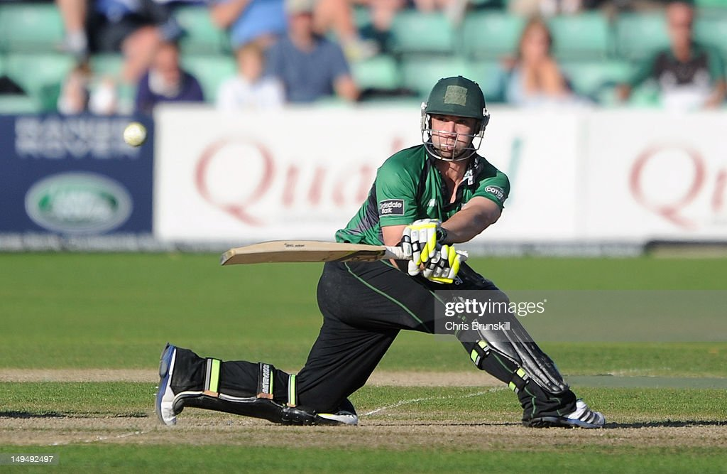 Phillip Hughes of Worcestershire hits out to the boundary during the Clydesdale Bank Pro40 match between Worcestershire and Essex at New Road on July...