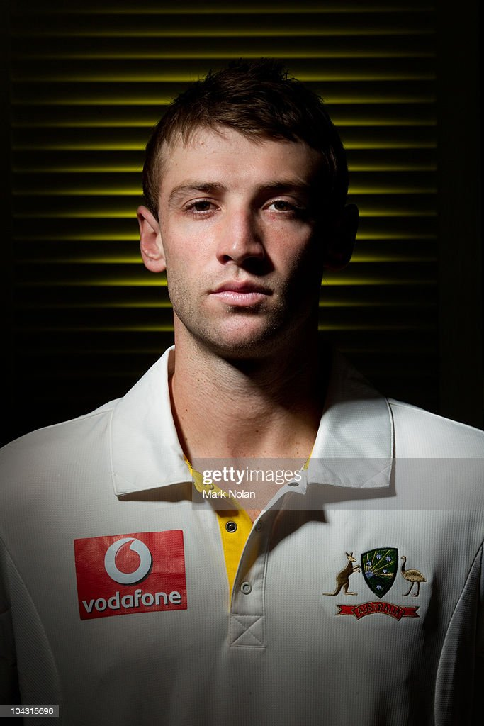 <a gi-track='captionPersonalityLinkClicked' href=/galleries/search?phrase=Phillip+Hughes+-+Cricketspeler&family=editorial&specificpeople=757530 ng-click='$event.stopPropagation()'>Phillip Hughes</a> poses during an Australian cricket team portrait session at the Hyatt Coolum on August 23, 2010 in Coolum Beach, Australia.