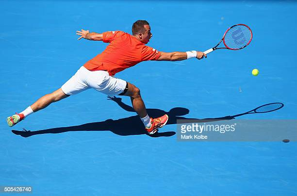 Phillip Kohlschreiber of Gemany plays a backhand in his first round match against Kei Nishikori of Japan during day one of the 2016 Australian Open...