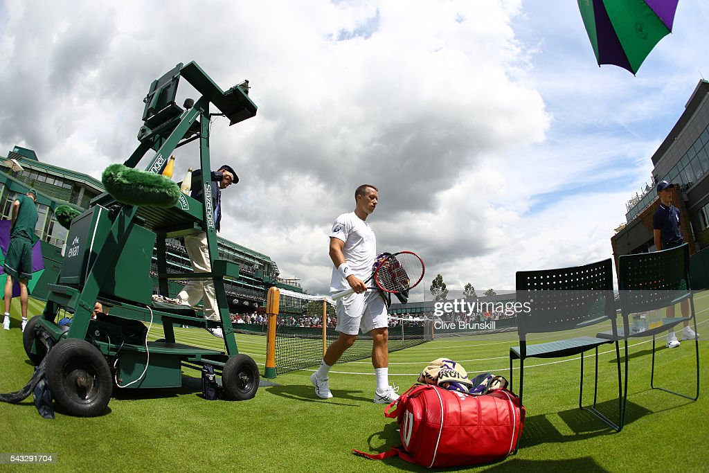 Phillip Kohlschreiber of Germany looks on during the Men's Singles first round match against Pierre-Hugues Herbert of France on day one of the Wimbledon Lawn Tennis Championships at the All England Lawn Tennis and Croquet Club on June 27th, 2016 in London, England.