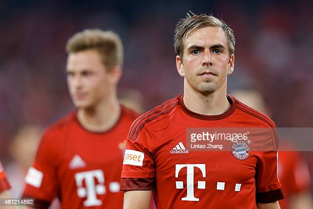 Phillip Lahm of FC Bayern Muenchen looks on during the international friendly match between FC Bayern Muenchen and Valencia FC during the Audi...