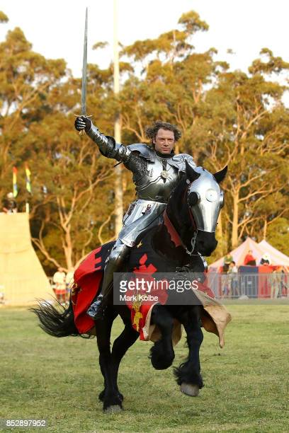 Phillip Leitch of Australia celebrates victory after winning the World Jousting Championships on September 24 2017 in Sydney Australia The World...