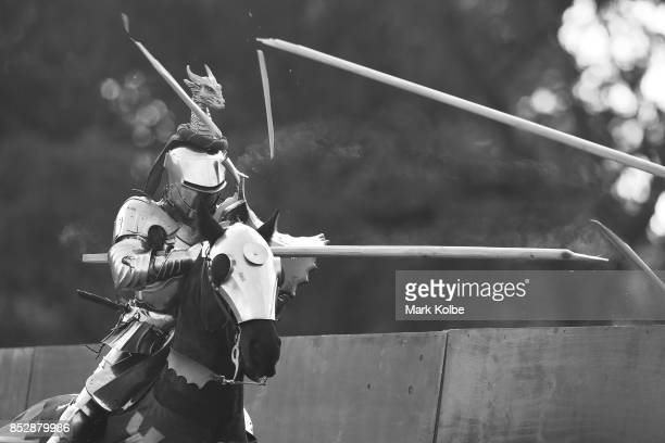 Phillip Leitch of Australia competes in the grand final of the World Jousting Championships against Michael Sadde of France on September 24 2017 in...