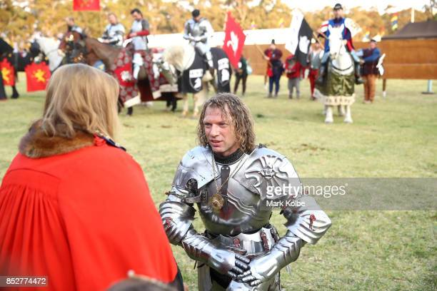 Phillip Leitch of Australia is presented with victory medalion after winning the World Jousting Championships on September 24 2017 in Sydney...