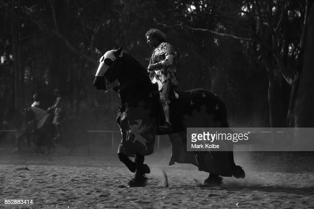 Phillip Leitch of Australia prepares to compete in the World Jousting Championships against Michael Sadde of France on September 24 2017 in Sydney...