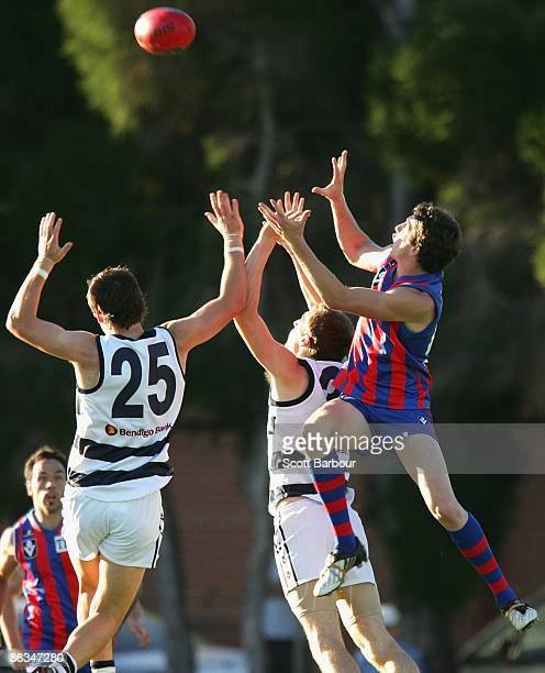 Phillip Raymond of Port Melbourne takes a mark during the round four VFL match between Port Melbourne and Geelong at Teac Oval on May 2 2009 in...