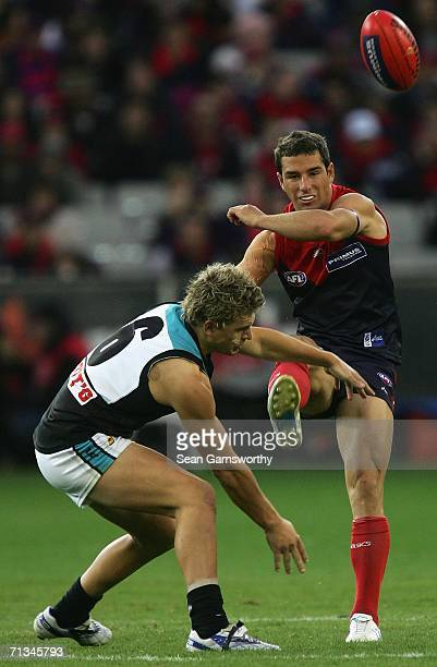 Phillip Read for Melbourne and Adam Thomson for the Power in action during the round thirteen AFL match between Melbourne and Port Adelaide at the...