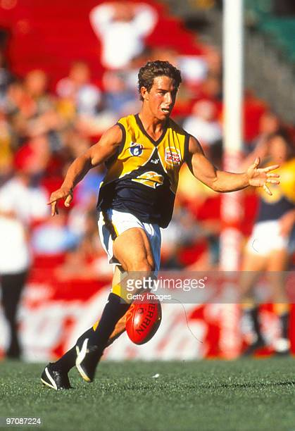Phillip Read of the Eagles kicks during the round five AFL match between Hawthorn and West Coast on April 24 1999 in Melbourne Australia