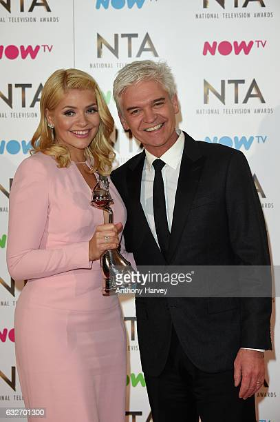Phillip Schofield and Holly Willoughby with the Best Live Magazine Show award for This Morning backstage during the National Television Awards at The...