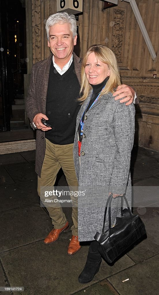 <a gi-track='captionPersonalityLinkClicked' href=/galleries/search?phrase=Phillip+Schofield&family=editorial&specificpeople=629203 ng-click='$event.stopPropagation()'>Phillip Schofield</a> and Stephanie Lowe sighting at The Royal Albert Hall on January 8, 2013 in London, England.