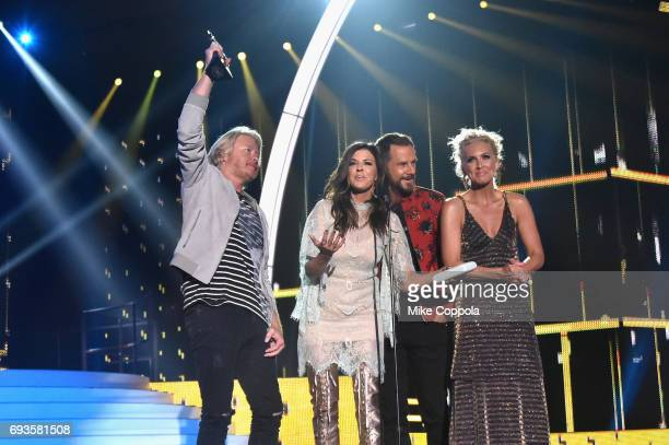Phillip Sweet Karen Fairchild Jimi Westbrook and Kimberly Schlapman accept an award onstage during the 2017 CMT Music Awards at the Music City Center...